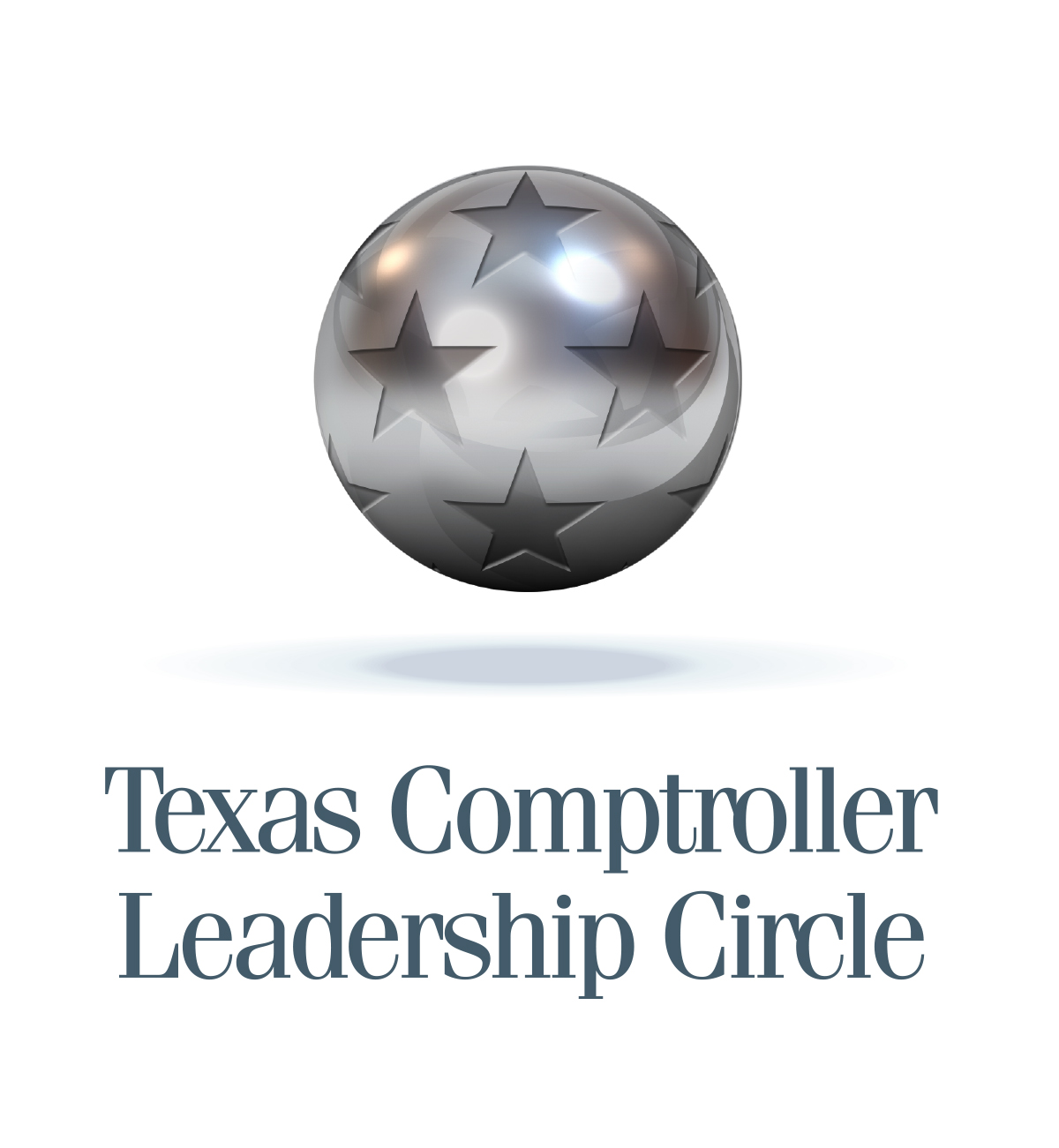 Texas Comptroller Leadership Circle Award. A plantinum colored ball with stars.